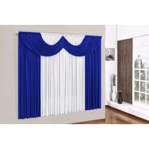 Cortina Com Bandô Paris 2,00x 1,70 P/ Quarto E Sala Azul Bic