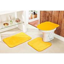 Jogo De Tapete Para Banheiro 3 Peças Cor Amarelo