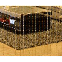 Cortina De Miçangas E Contas Modelo Cristal Cor Dourada