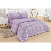 Edredom Dupla Face Casal Classic Patchwork Lilas