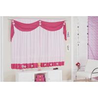 Cortina Margarida Infantil Rosa E Pink P/ Quarto De Menina
