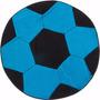 Tapete P/ Quarto De Menino Bola Futebol Azul 0,70cm X 0,70cm