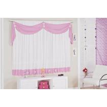 Cortina Margarida Infantil P/quarto De Menina Rosa E Branco