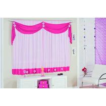 Cortina Infantil Margarida 2,00x1,70 Pink/rosa Para Quarto