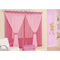 Cortina Pink/rosa Voal Varão Simples 2,00 X 1,70 Juvenil