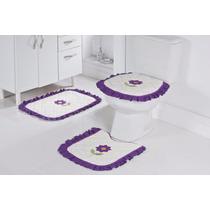 Jogo De Banheiro Palha Com Lilás 3 Peças