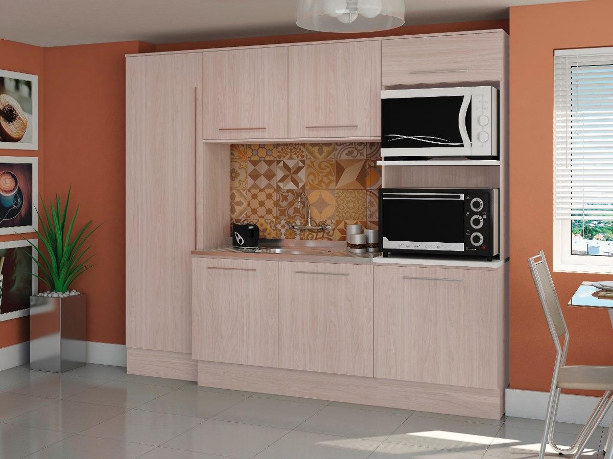 #7C4531 Cozinha Compacta Balcão Paneleiro Armário 4 Pçs Kappesberg R$ 1  1200x900 px Armario De Cozinha Compacta Mdf #1969 imagens
