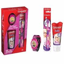 Kit Escova + Creme Dental Barbie - Colgate + Relogio
