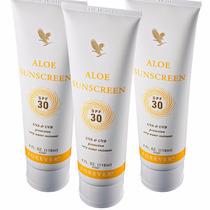 Kit 3 Aloe Sunscreen Forever - Protetor Solar Aloevera Fps30