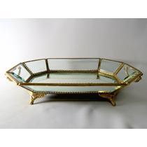Centro De Mesa Bandeja Espelhada Bronze E Cristal Belíssimo