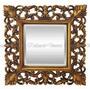 Espelho Cristal Bisotado Quadrado Moldura Dourado Decorativa