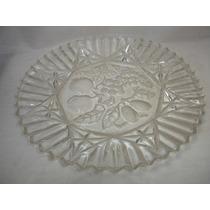 Decoração Antiga Fruteira Prato Bolo Crystal Lapidado 28 Cm