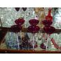 6 Taças Altas Em Fino Cristal Murano Rubi