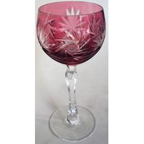Taça (s) Grande De Cristal Vermelho Ricamente Lapidado