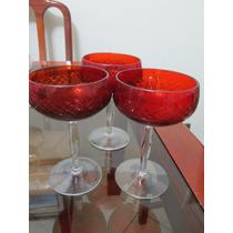 Taça Cristal Lapidado Vermelha