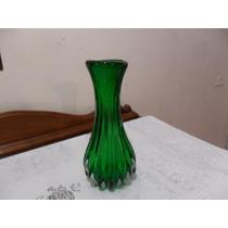 Antigo Vaso Em Cristal Murano Verde, 27 Cm