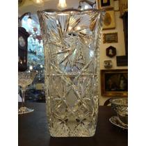 Vaso Em Cristal Bohemia Lapidado Alto Pesadão
