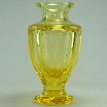Lindo Vaso De Cristal Moser, Amarelo, Assinado