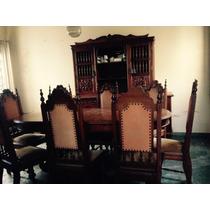 Sala De Jantar Em Cerejeira Maciça Com 8 Cadeiras E Buffet