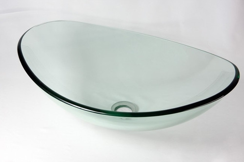 Cuba De Vidro Oval Para Banheiro E Lavabo Transparente  R$ 219,90 no Mercado -> Cuba Para Banheiro De Vidro Oval