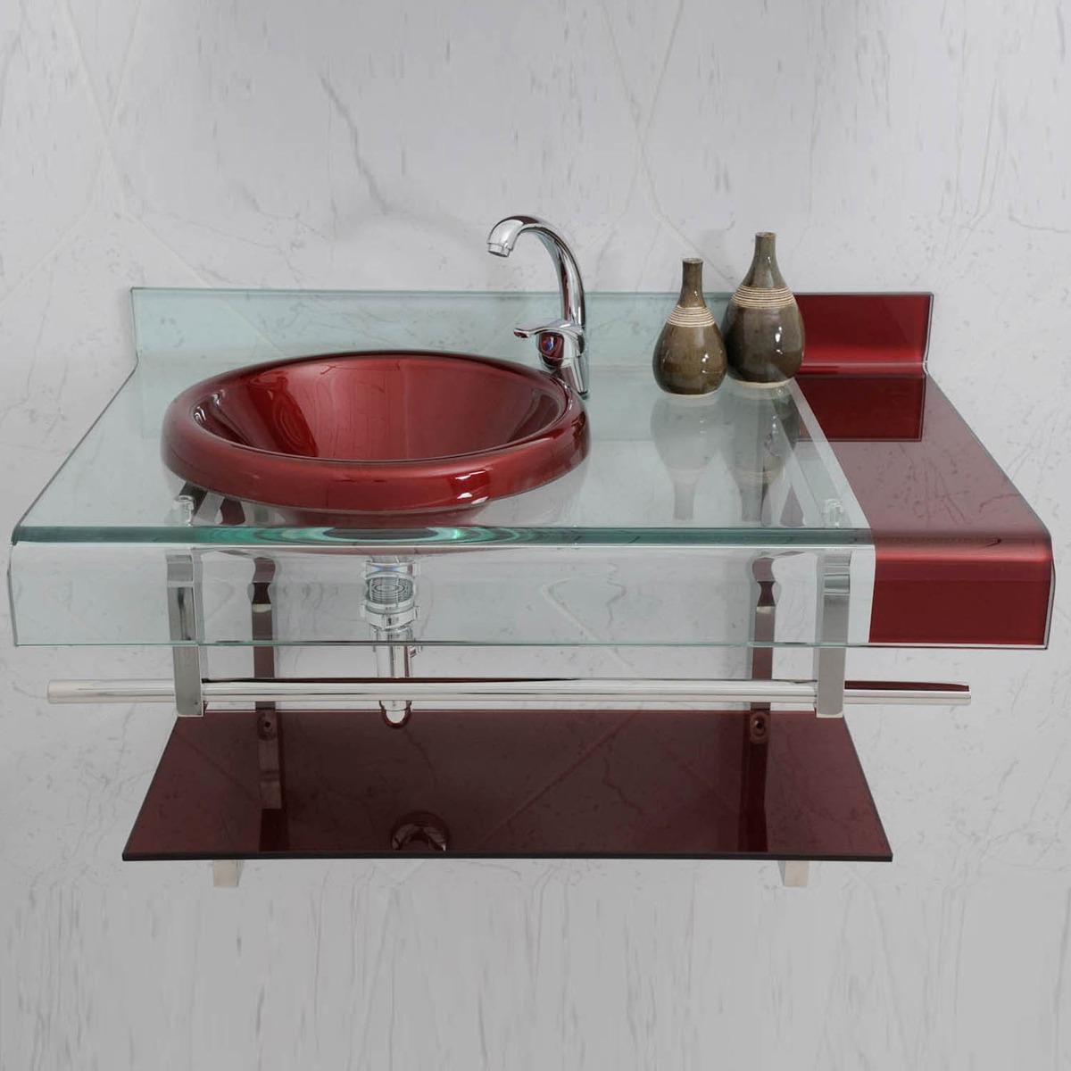 Gabinete Com Cuba E Espelheira 45x46x45 Concept Plus Preto E Cristal  #69302F 1200 1200