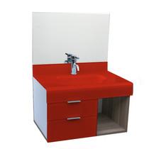 Lavatório Stetiun 80x80 Cm - Vidro Esmaltado Vermelho