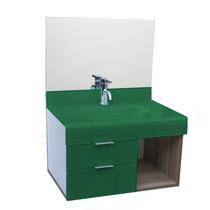 Lavatório De Vidro Esmaltado Stetiun 80x80 Cm - Verde