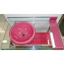 Gabinete De Vidro Rosa P/banheiro - Com Espelho - 90cm