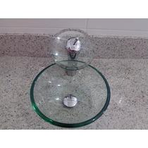 Cuba Vidro E Válvula Click - Lavabo/banheiro/pia/kit 2 Peças