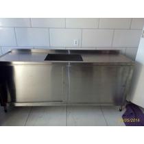 Bancada C/ Gabinete Pia Total Aço Inox 2 Mts X 70 Cmt X 90cm