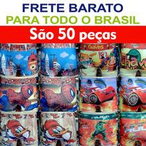 Kit Cuecas Box Infantil Sublimadas Frente E Costas + Brinde