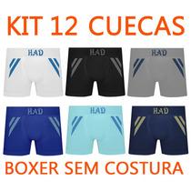 Kit 12 Cuecas Boxer Poliamida Sem Costura Atacado Ou Revenda