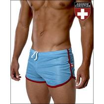 Cueca Boxer Andrew Christian Mesh Shorts Azul Sunga
