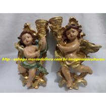 Escultura Casal Anjo Barroco Castiçal Direito Esquerdo 25cm