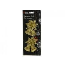 Decoração De Natal - Pendurando Bell & Flower 2 Set Em Ouro