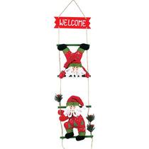 Enfeite Para Porta 2 Papai Noel Na Escada 69x15cm