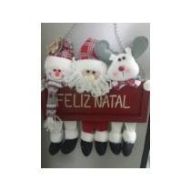 Enfeite De Porta Natal Noel Boneco E Rena Em Madeira