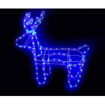 Rena Led Iluminada De Natal 112 Lampadas Led Azul Decoração