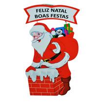 10 Enfeite Papai Noel - Mdf - Madeira