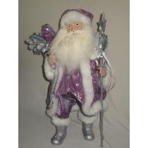 Saldão Papai Noel Para Decoração De Natal 48cm Roupa Lilás
