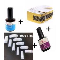 Kit 100 Adesivos+ 1000 Tips Unha P/ Gel+ 1 Primer+ 1 Selante