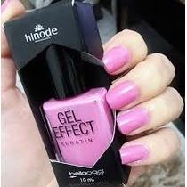 Hinode Esmalte Gel Effect Keratin Unhas +cartela Adesivo Top