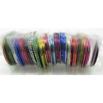 Kit Com 10 Fitas Metalizadas Ou Holográficas Para Unhas