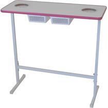 Mesa Para Manicure Com 2 Gavetas - Pink