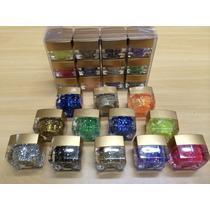 Kit Com 12 Gel Colorido Com Glitter P/ Decoração De Unhas