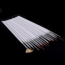 Kit C/ 15 Pincéis Pincel Proficion Unhas Artísticas Nail Art