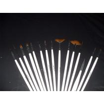 Kit Completo Com 15 Pincéis Para Decoração De Unhas + Brinde