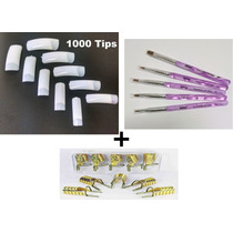 Unha Tips 1000 +5 Moldes Reutilizavel+5 Pincéis Carga Dupla