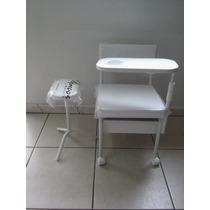 Kit Salão De Beleza Cadeira Cirandinha Branca Mais Apoio Pés