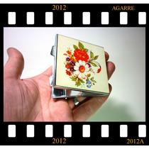Espelho Portátil Dobrável Em Estojo Metálico Florido